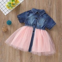 Dress Casual Lengan Pendek Desain Patchwork Bahan Denim untuk Anak