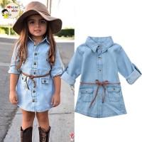 Summer Kids Girls Casual Long Sleeve Denim Dress