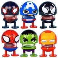 Boneka Per Goyang Motif Avengers - Dashboard Spring Doll Dance Emoji
