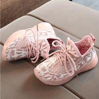 Sepatu Sneakers Anak Perempuan Yeezy V1 013 Prime Knit Sepatu LED - Merah Muda, 21