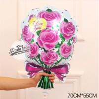 balon buket bunga pink / balon karangan bunga / balon foil bunga buket