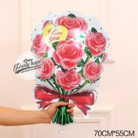 balon buket bunga merah / balon bentuk karangan bunga / balon bunga