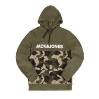 Jack&Jones Logo Camouflage Print Hoodie Olive - S