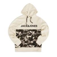 Jack&Jones Logo Camouflage Print Hoodie Ivory White - M