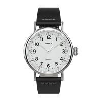 Standard 40mm Silver-tone Case Silver-tone Dial Black Leather Strap
