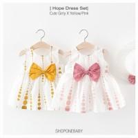 Dress Set Summer Style Pakaian Bayi Baju Baby Girl Topi Anak Hat HOPE - Merah Muda, No.5 6-12m
