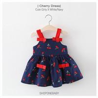 Dress Summer Style Pakaian Bayi Baju Baby Girl Anak Perempuan CHERRY - Navy, No.5 6-12m