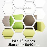 Sticker Cermin 3D Tempel Heksagonal Dekorasi Dinding Tembok Rumah