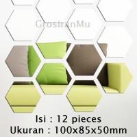 XL12 Sticker Cermin 3D Tempel Hexagonal Dekorasi Dinding Tembok Rumah