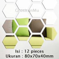L-12 Sticker Cermin 3D Tempel Heksagonal Dekorasi Dinding Tembok Rumah