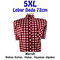 Kemeja Pria Katun Kotak Ageng Sae Jumbo Big Size 5XL - Merah