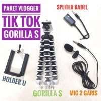 Paket Vloger youtuber Mic clip on Gorillapod Spliter