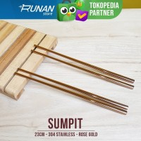 Sumpit Makan Rose Gold Chopstick - Sumpit Stainless Pink Hotel Korea