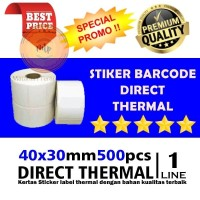 """Label Sticker Barcode 40X30mm 1 Line 500pcs Gap Core 1"""" Direct Thermal"""
