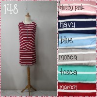 Tunik (mini dress) kaos katun hademmm salur garis all size fit to