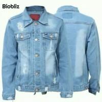 jaket jeans sobek jaket jeans premium warna biobliz biowash retro MLXL - BIOBLIZ