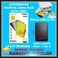 POWERBANK MANTUL 5000mAh SLIM PORTABLE 2 USB ORIGINAL PB POWER BANK
