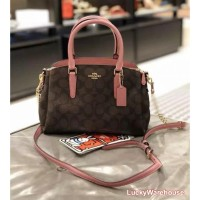 Coach Mini Sage Carryall In Signature Canvas Brown Rose - ORI 100%