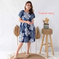 Daster Bali / Daster Seri Tropical / Dress Bali / Daster Payung - Tropical Navy