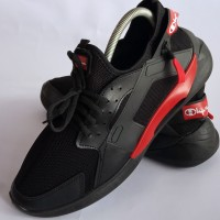 Sepatu Sport Running Champion Hitam Berkualitas dengan Zipper