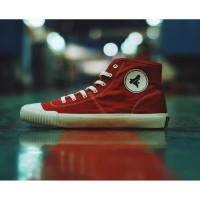 SEPATU BRODO VULCAN HIGH RED WHITE // UKURAN 43 - 39