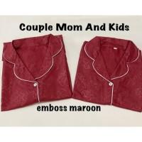 EMBOSS MAROON BAJUTIDUR PIYAMA BISA COUPLE MOM AND KIDS SATIN EMBOSS