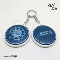Gantungan Kunci 2 Sisi UGM - Souvenir Resmi Logo - Biru dan Putih - Biru
