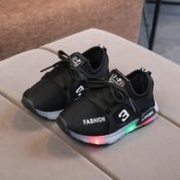 Sepatu Sneakers Anak Perempuan NMD R1 011 Sepatu LED Breathable Mesh - Hitam, 29