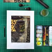 Linocut Print + Watercolor 01