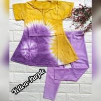 baju setelan anak perempuan bahan kaos dan legging warna kuning