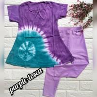 baju setelan anak perempuan bahan kaos dan legging ungu