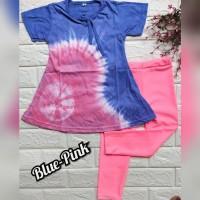 baju setelan anak perempuan bahan kaos dan legging warna biru