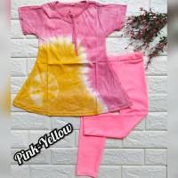 baju setelan anak perempuan bahan kaos dan legging warna pink