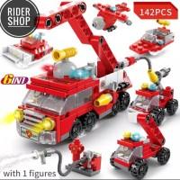Mainan Lego Brick mobil pemadam kebakaran set 6 in 1 figure toys