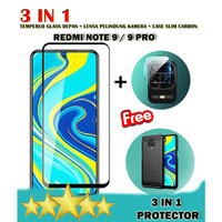 REDMI NOTE 9 9PRO - 3IN1 TEMPERED GLASS 9D + LENSA KAMERA + SOFTCASE - NOTE 9 PRO