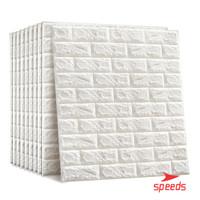 Perekat wallpaper 3d stiker putih bata busa dinding kamar tidur 205-1