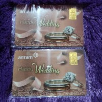 kartu ucapan happy wedding coklat bonus 1 g