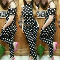 vo fashion wanita jumpsuit armin pakaian dengan motif polkadot.