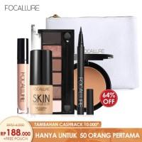 FOCALLURE Bundle Eyeshadow Eyeliner Powder Foundation Concealer + Bag