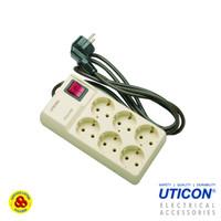 Uticon Stop Kontak 6 Lubang Segi + Saklar Indikator + Kabel ST-1668
