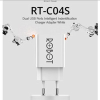 ROBOT RT-C04S DUAL USB PORT CHARGER ADAPTER WHITE ORIGINAL