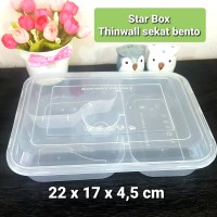 Kotak makan plastik 1 DUS isi 300 pcs Thinwall Sekat Bento