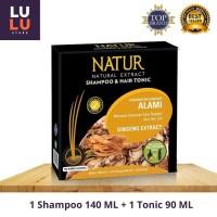 Natur Ginseng Kemasan Hemat 2in1 Shampoo 140ML Tonic 90ML Anti Rontok