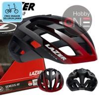 LAZER HELMET GENESIS RED BLACK Asian Fit - Helm Sepeda FREE ONGKIR