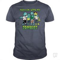 Kaos Chillin With My Zombies Halloween Boys Kids Funny T-Shirt