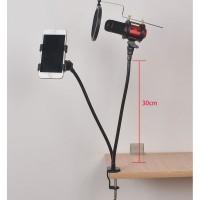 Fleksibel Stand Mikrofon BOP dan Lazypod Smartphone Holder Univer