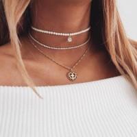 Pearl Love Necklace Three Layer Chocker 0328Ddr