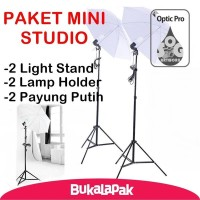 Paket Lampu Studio Mini Light Stand - Lamp Holder - Payung Transpara