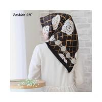 satin hijab Bunga Kerudung Jilbab Segi Empat Premium Square Motif L140