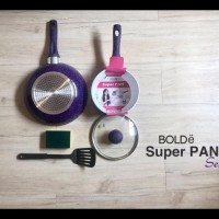 PROMO SUPER PAN KERAMIK SET PURPLE ORIGINAL BOLDE 5 PCS TERMURAH